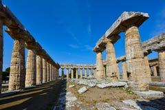 Italië, Campania, Paestum - Tempel van Hera Royalty-vrije Stock Afbeelding