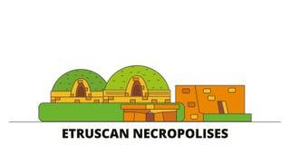 Italië, Cerveteri, Etruscan-vectorillustratie van Necropool de vlakke oriëntatiepunten Italië, Cerveteri, Etruscan-Necropoollijn royalty-vrije illustratie