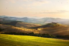 Italië De landbouwgrond van Toscanië en rollende heuvels; La van het de zomerplatteland royalty-vrije stock afbeeldingen