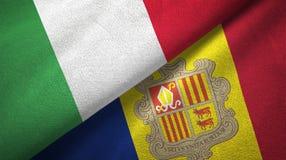 Italië en Andorra twee vlaggen textieldoek, stoffentextuur royalty-vrije illustratie