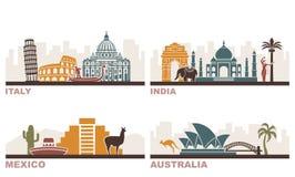 Italië, India, Mexico, Australië Architecturale oriëntatiepunten rond de wereld stock illustratie