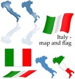 Italië - kaart en vlagreeks Stock Foto's