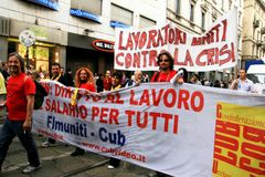 Italië, Mensen die werkloosheid & politiek protesteert Stock Fotografie