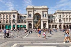 Italië Milaan, 05 09 2017 Kathedraalvierkant en Galleria Vittorio Emanuele Royalty-vrije Stock Foto