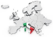 Italië op een Euro kaart Stock Foto's