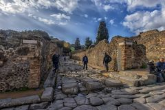 Italië, Pompei, Straat 02.01.2018 in Pompei, Italië Pompei is a Royalty-vrije Stock Foto