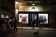 Italië, Puglia, Castellaneta 14 augustus, 2014 De gelegenheid van witte blanca van nachtnotte royalty-vrije stock fotografie