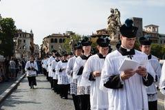 Italië-Rome - 7 September 2017 - viering van de bedevaart van stock foto