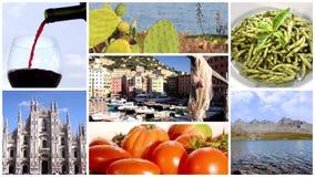 Italië, samenstelling van voedsel en landschappen stock footage