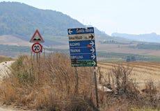 Italië, Sicilië: Wegsignalen royalty-vrije stock afbeelding