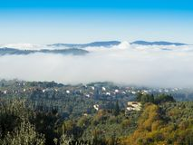 Italië, Toscanië, Florence met mist, royalty-vrije stock foto