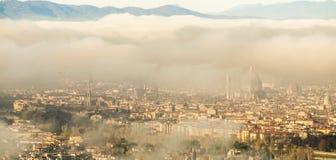Italië, Toscanië, Florence met mist, stock foto's