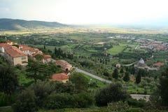 Italië. Toscanië. Panorama van Cortona stock afbeeldingen