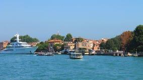 Italië, Venetië 20 Augustus, de Mening van 2011 van de haven in Venetië op een heldere zonnige dag Stock Foto's