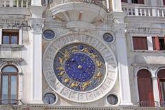 Italië Venetië St de toren van het Teken met leeuw en klok Royalty-vrije Stock Afbeeldingen