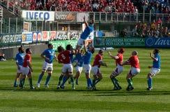 Italië versus Wales, zes natierugby Stock Foto