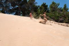Italië, zandduin op de kust van Puglia Stock Foto