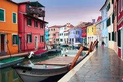 Italië, Venetië: Het Eiland van Burano Stock Foto's