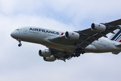 AirFrance Airbus A380. Airfrance landing at OR Tambo airways international, with landing gear down, flaps open Stock Image
