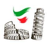 Italia, Colosseum, torre inclinada de Pisa ilustración del vector