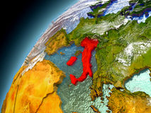 Italia de la órbita de Earth modelo Foto de archivo