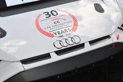 Italia - 29 de marzo de 2019: Audi R8 LMS 2019 del equipo de Alemania del Motorsport de la colección del coche fotografía de archivo
