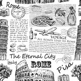 Italia dibujada mano, Roma stock de ilustración