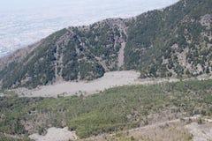 Italia, el monte Vesubio, flujo de lava que va a Nápoles Imágenes de archivo libres de regalías