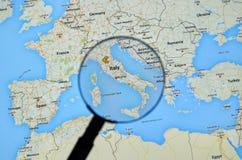 Italia en Google Maps Imágenes de archivo libres de regalías