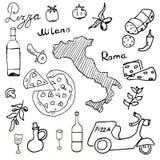 Italia garabatea elementos Sistema dibujado mano con la vespa, el vino, el queso y el mapa de la pizza Colección de dibujo del ga Imagen de archivo