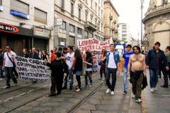 Italia, gente que protesta el desempleo y políticas Fotografía de archivo