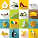 Italia icons set, flat style. Italia icons set. Flat illustration of 16 Italia icons for web Vector Illustration