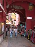 Italia Laigueglia, calle de Dante Alighieri fotografía de archivo