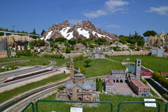 Italia in Miniatura - city and mountains. Famous thematical park in Rimini, Italy with over 300 miniatures of most popular buildings of Italy Royalty Free Stock Images