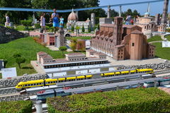 Italia in Miniatura - train station. Famous thematical park in Rimini, Italy with over 300 miniatures of most popular buildings of Italy Royalty Free Stock Image