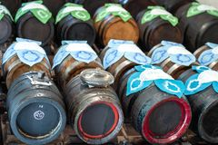 Italia, Modena, botti per la produzione aceto balsamico tradizionale di Modena. Italy, Modena, cellar with barrels for the production of traditional balsamic royalty free stock photo