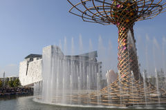 Italia Pavilion and fountains of Tree of life, EXPO 2015 Milan. MILAN, ITALY - October 07, EXPO 2015, view of the symbols of the exhibition with gushes of water stock images