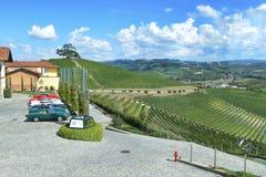Italia, Piamonte, Langhe, turistas del vino en el ` de Cascina Monfalletto del ` foto de archivo