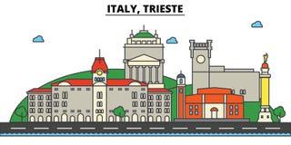 Italia, Trieste Arquitectura del horizonte de la ciudad editable Foto de archivo libre de regalías