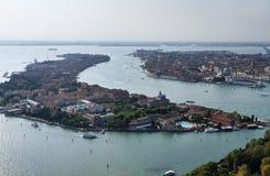 Italia, Venecia, vista aérea de la ciudad Imagen de archivo libre de regalías