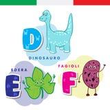 Italiaans alfabet Dinosaurus, klimop, bonen Vectorbrieven en karakters Stock Afbeeldingen