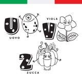 Italiaans alfabet Ei, viooltje, pompoen Vectorbrieven en karakters Royalty-vrije Stock Foto