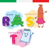 Italiaans alfabet Kikker, worst, blocnote Vectorbrieven en karakters Stock Afbeelding