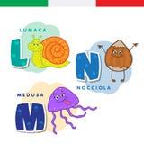 Italiaans alfabet Slak, hazelnoot, kwallen Vectorbrieven en karakters Royalty-vrije Stock Foto's