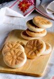 Italiaans gastronomisch straatvoedsel: Tigelle, Emilia Romagna Stock Foto