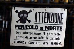 Italiaans gevaarsteken royalty-vrije stock foto's