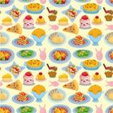 Italiaans het voedsel naadloos patroon van het beeldverhaal Stock Afbeeldingen