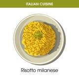 Italiaans Milanese de rijst vectorpictogram van keukenrisotto voor restaurantmenu of kokend receptenmalplaatje Royalty-vrije Stock Afbeelding
