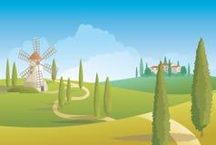 Italiaans plattelandslandschap vector illustratie