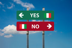 Italiaans referendum ja & x28; SI& x29; of nr & x28; NO& x29; Royalty-vrije Stock Foto's